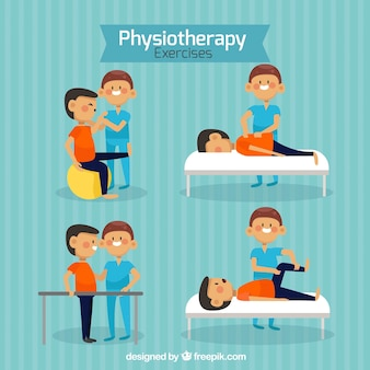 Physiotherapy set with nice characters