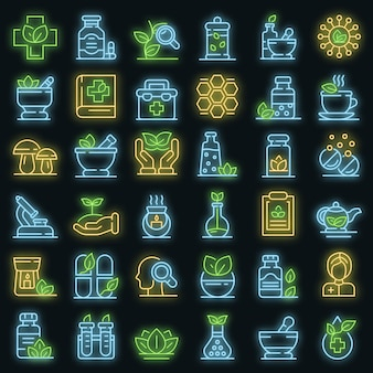 Phytotherapy icons set. outline set of phytotherapy vector icons neon color on black