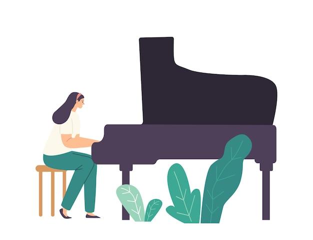 무대에서 심포닉 오케스트라 또는 오페라 공연을 위해 그랜드 피아노에서 작곡을 연주하는 피아니스트 여성 캐릭터. 현장에서 공연하는 재능있는 여성 아티스트. 만화 벡터 일러스트 레이 션