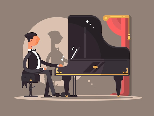 ピアニストはコンサートで演奏します。有名な作曲家のパフォーマンス。ベクトルフラットイラスト