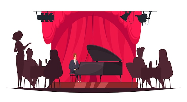 Pianist playing music live in restaurant with silhouettes of people sitting at tables, cartoon illustration