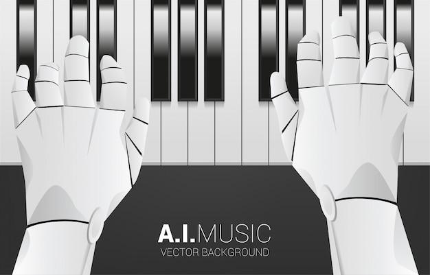 ピアノの鍵盤を備えたピアニストのロボットハンド。人工知能と音楽の背景概念を構成します。