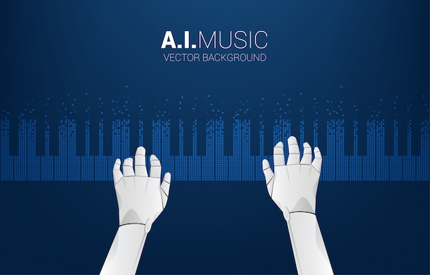 Pianist robot hand with piano key from pixel. background concept for artificial intelligence and music compose.