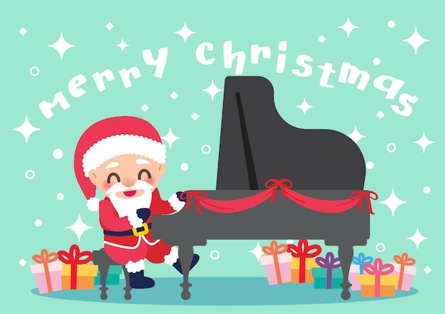 Pianist santa christmas celebration illustration