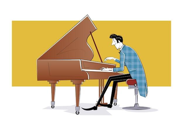 ピアニストはピアノの前に座って音楽を演奏します。スケッチイラスト