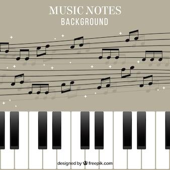 ピアノの背景と五芒星の音符