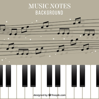 Piano background and pentagram with musical notes