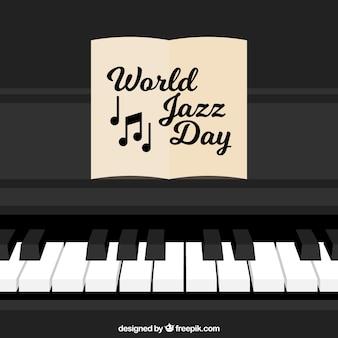 Фортепиано фон с джаз день ноты