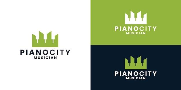 Вектор дизайна логотипа города пианино. пианист, город музыкантов