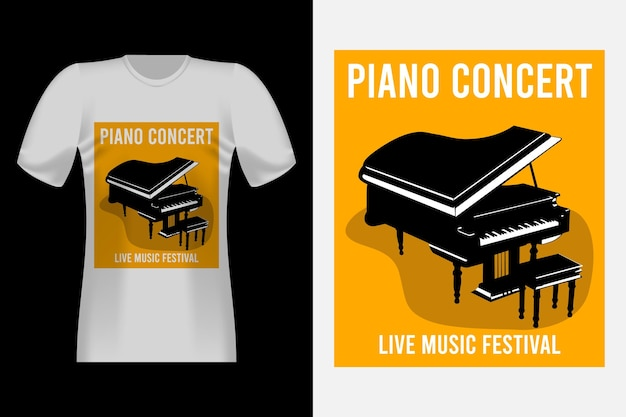 Piano concert hand drawn style vintage t-shirt design