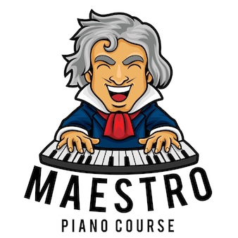 Шаблон талисмана логотипа курса фортепиано