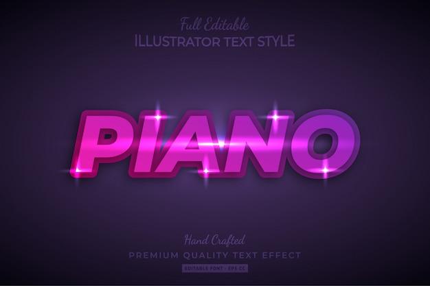 Piano editable 3d text style effect premium