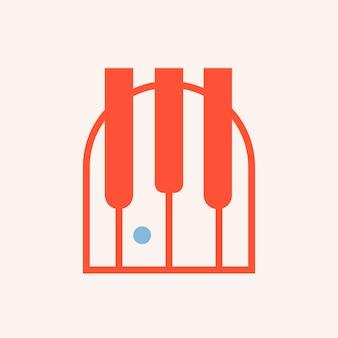 Значок фортепиано, музыкальный символ плоский дизайн векторные иллюстрации