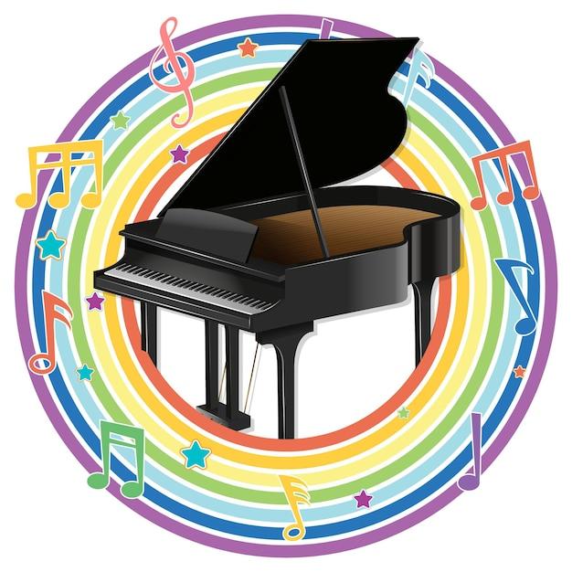 メロディーのシンボルと虹の丸いフレームのピアノ