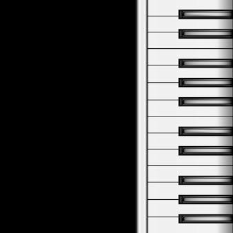 카드 및 포스터에 대 한 어두운 배경 사운드 음악 클래식 악기 개념에 피아노 키보드. 벡터 일러스트 레이 션