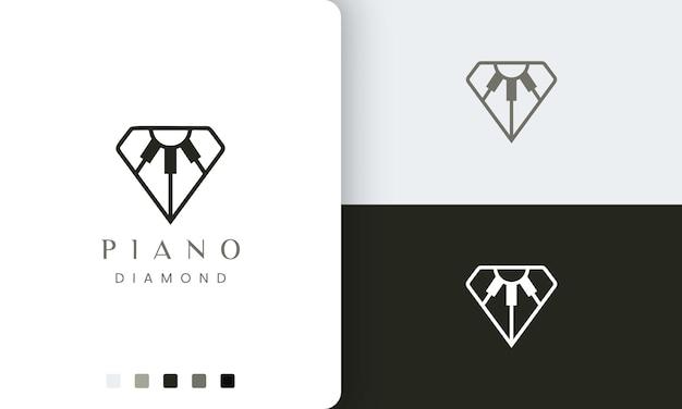 ダイヤモンドの形をしたミニマリストでモダンなスタイルのピアノのロゴやアイコン