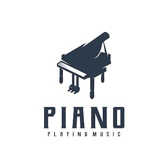 Piano logo vintage retro silhouette
