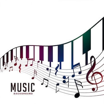 Piano and musical notes chord background