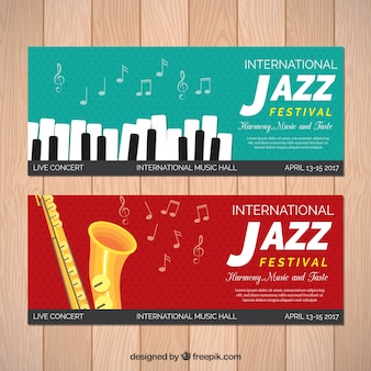 Piano and saxophone jazz banners