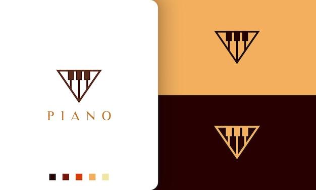 ミニマリストでモダンなスタイルのピアノ学校のロゴやアイコン