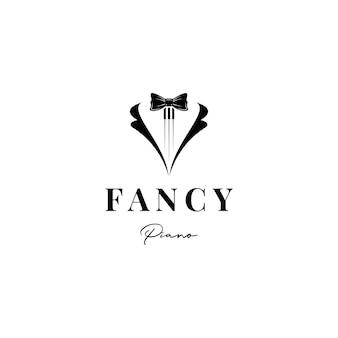 ピアノの房蝶ネクタイとタキシード音楽ロゴデザインベクトル
