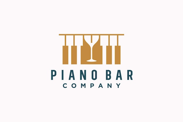 Piano and wine music bar concept logo