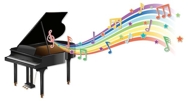 Piano with melody symbols on rainbow wave