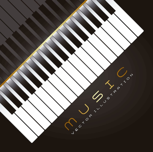 Piano with shadow over black background vector illustration