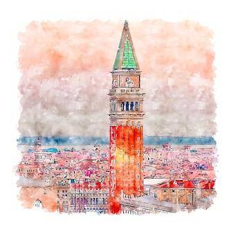 サンマルコ広場ヴェネツィア水彩スケッチ手描きイラスト