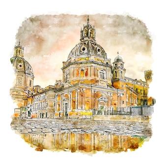 Piazza venezia roma италия акварельный эскиз рисованной иллюстрации