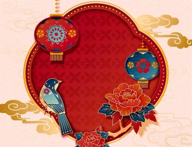Pica pica, peony and lanterns paper art decorative background for chinese new year