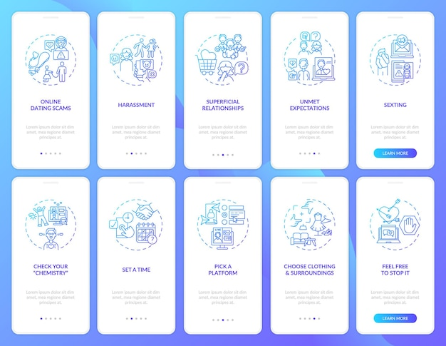 Выберите платформу на экране страницы мобильного приложения с концепциями. unment ожидание прохождение 10 шагов графических инструкций.