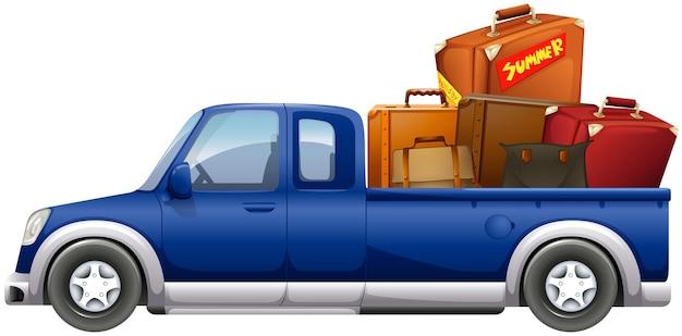バッグを積んだトラックをピックアップ