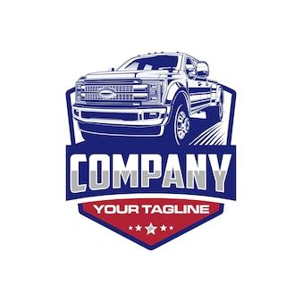 Pick up truck logo emblem logo template
