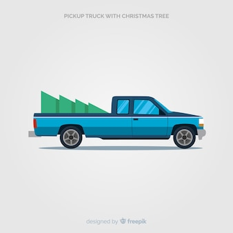 Pick up truck with christmas tree