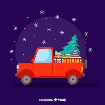 크리스마스 트리 트럭을 주워