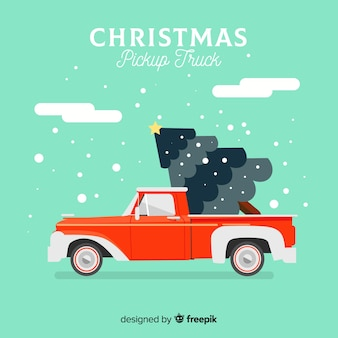 Pick-up truck with christmas tree