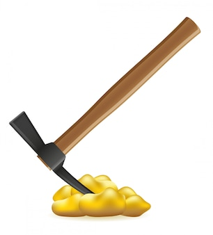 Pickaxe with nuggets of gold vector illustration