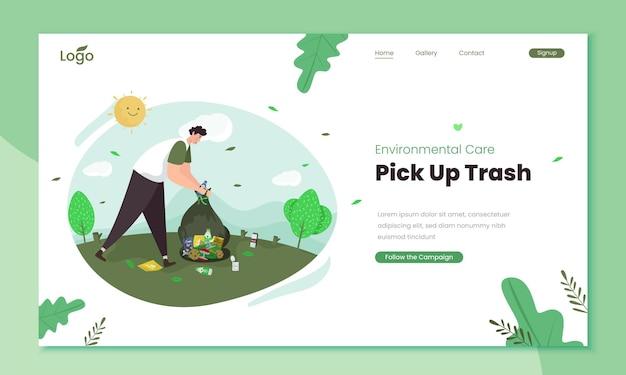 Picking up trash illustration on landing page template
