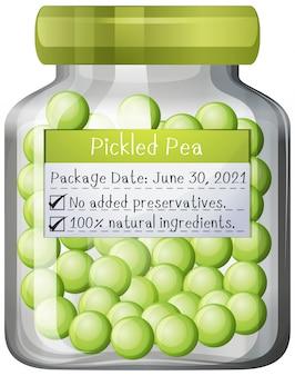 ガラスの瓶に漬けエンドウ豆の保存