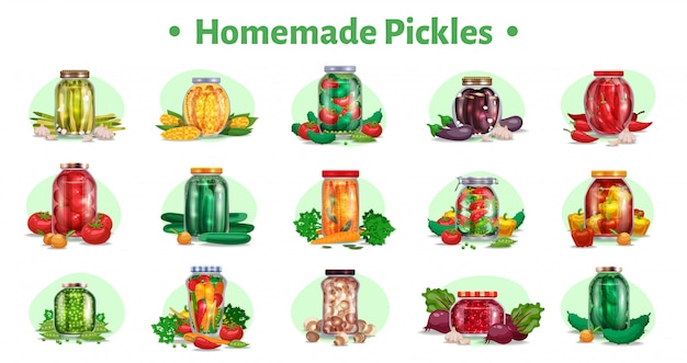 Pickles horizontal set of fifteen isolated images with marinated vegetables in glass jars with ripe fruits  illustration