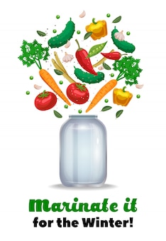 Pickles jar composition with ornate text and images of empty mason jar and ripe vegetable pieces  illustration