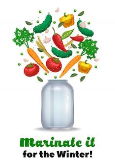 Composizione nel vaso dei sottaceti con testo decorato e le immagini del barattolo di muratore vuoto e dell'illustrazione di verdure matura dei pezzi
