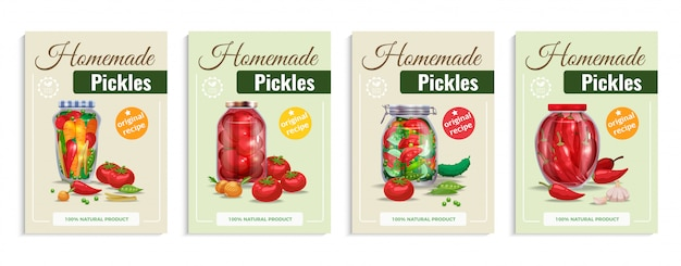 Pickles poster set with four compositions of glass vegetables in transparent mason jars with editable text  illustration