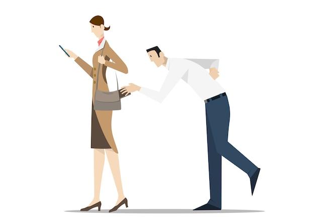 휴대 전화를 사용하는 여성의 지갑에서 지갑을 훔치는 소매치기