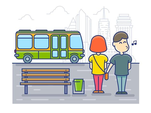 スリはバス停でバッグ、強盗からお金の現金を盗みます。