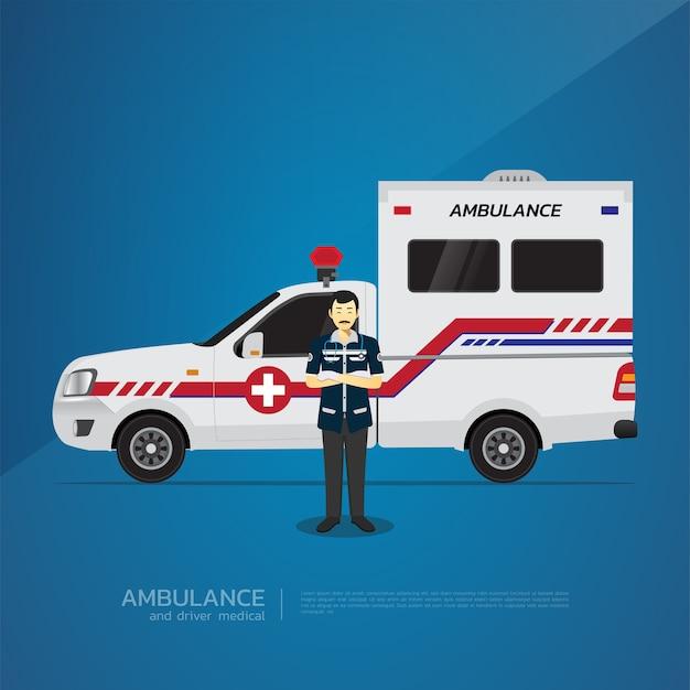 The pickup ambulance and driver medical design.