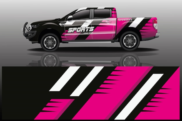 Pickup car decal wrap illustration