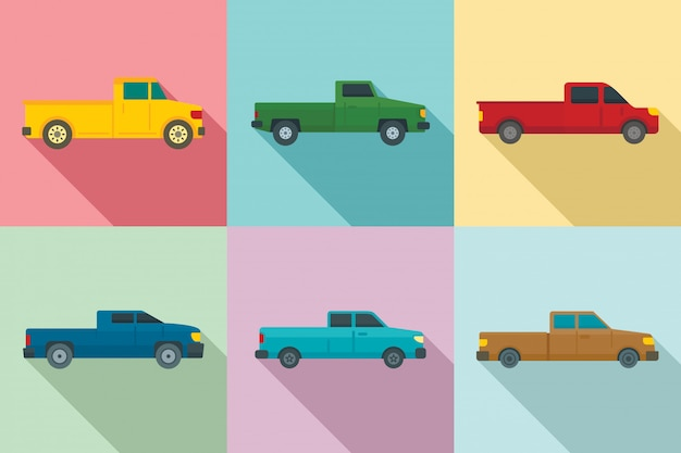 Pickup icons set, flat style