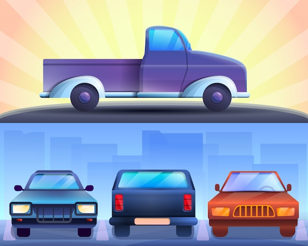 Pickup illustration set on cartoon style